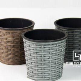 Chậu Trồng Cây Tự Dưỡng Nhựa Đan Tròn – NT12.8