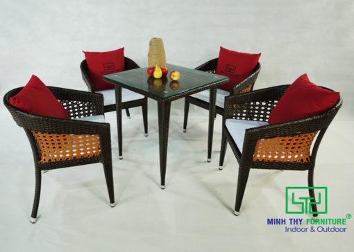 BÀN GHẾ CAFE NHỰA GIẢ MÂY - MT298