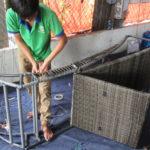 Sản xuất ghế hồ bơi nhựa giả mây 414 khung sắt sơn tĩnh điện đan sợi mây tròn giả mây kháng UV