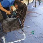 Đan mẫu đan ghế cafe sân vườn tại xưởng đan mẫu nội thất Minh Thy