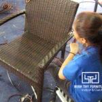 Hướng dẫn cách đan bàn ghế cafe nhựa giả mây sân vườn